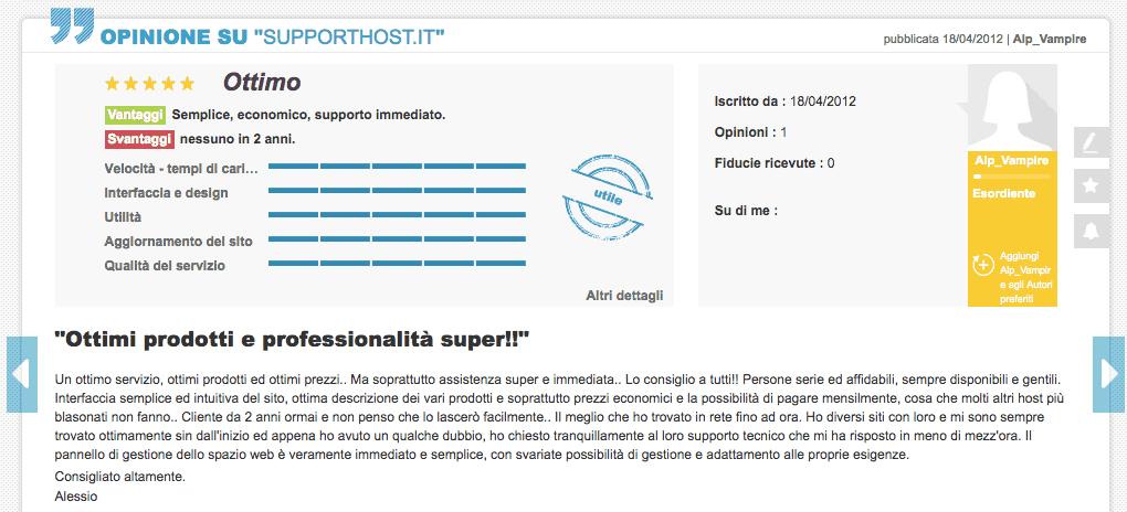 Alessio Opinioni Supporthost Ciao.it