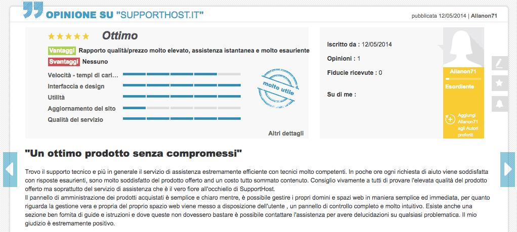 Alianon71 Opinioni Supporthost Ciao.it