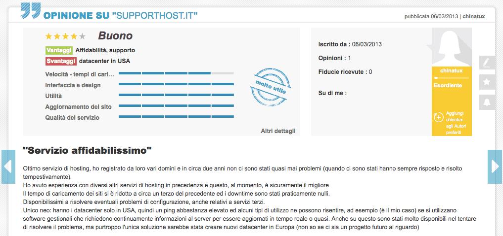 Chinatux Opinioni Supporthost Ciao.it