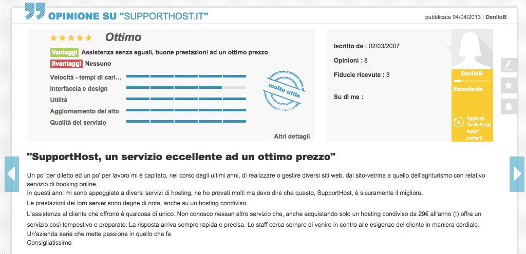 Danilo Opinioni Supporthost Ciao.it