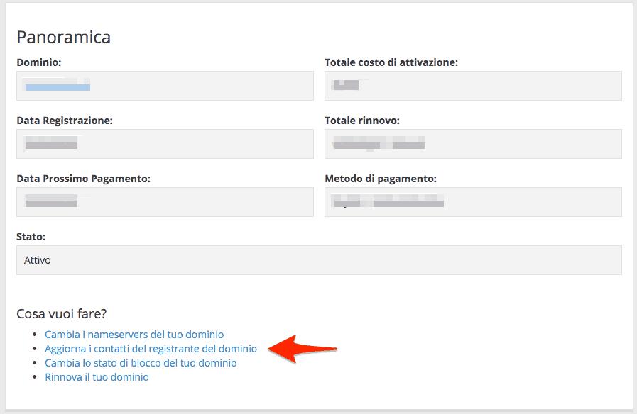 Modificare i dati dell'intestatario del dominio