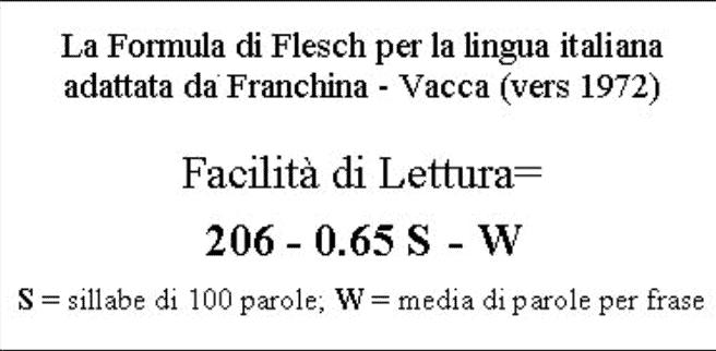 Flesch reading ease in italiano e la sua affidabilità