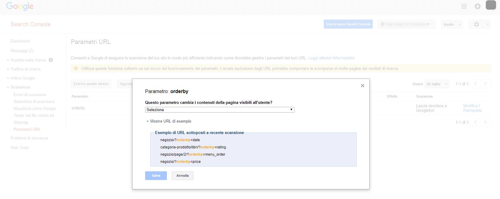Come registrare i parametri dinamici su Webmaster Tools