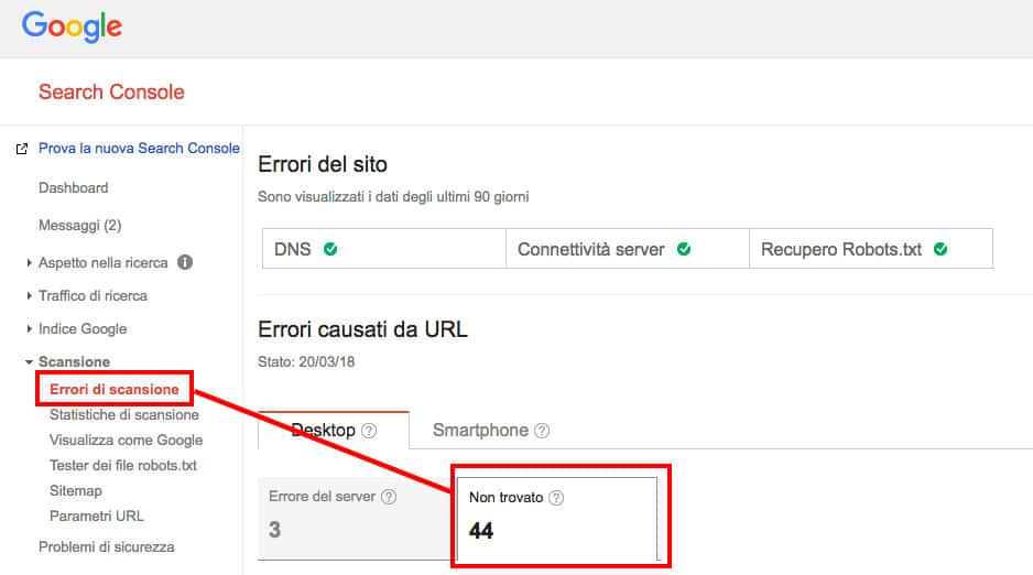 Errori soft 404 su WordPress