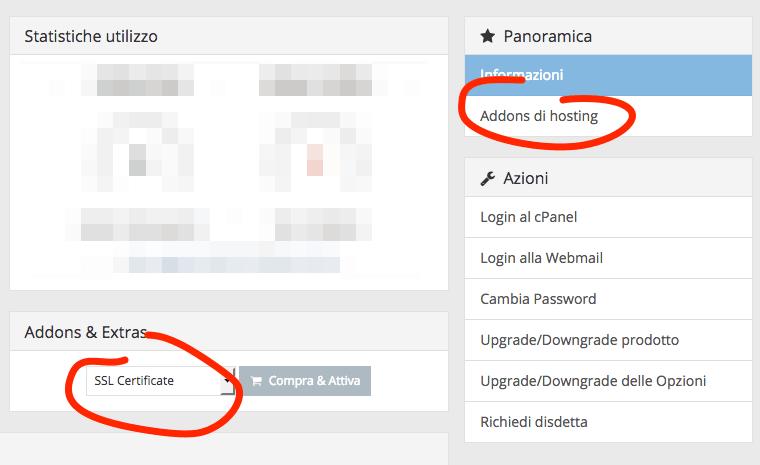 Ordinare un pacchetto aggiuntivo per il tuo piano hosting