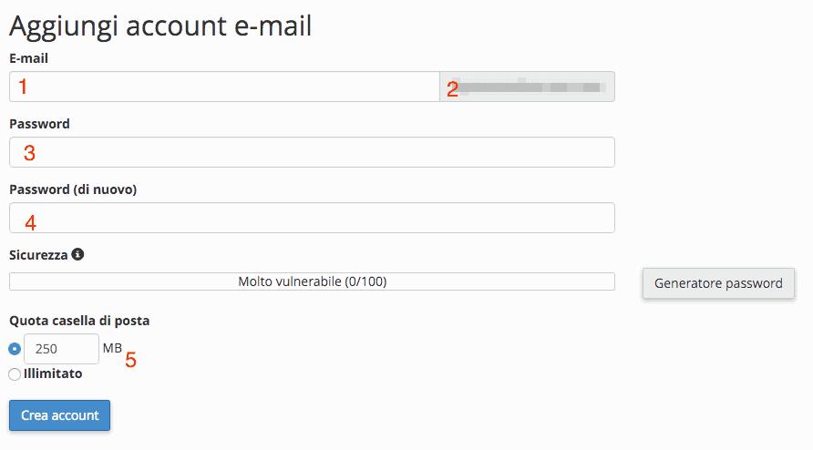 Creare un nuovo account email
