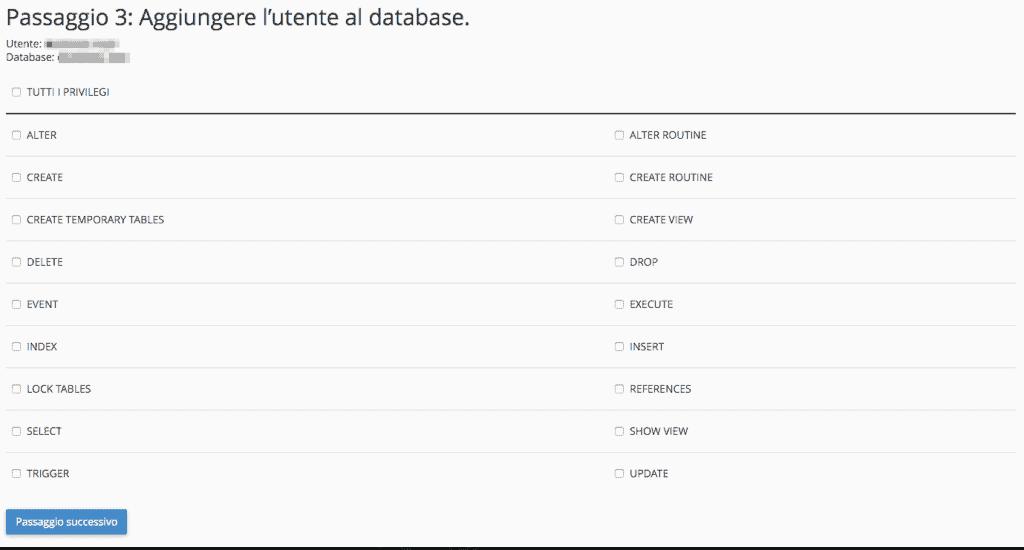 Creare un database MySQL (wizard)