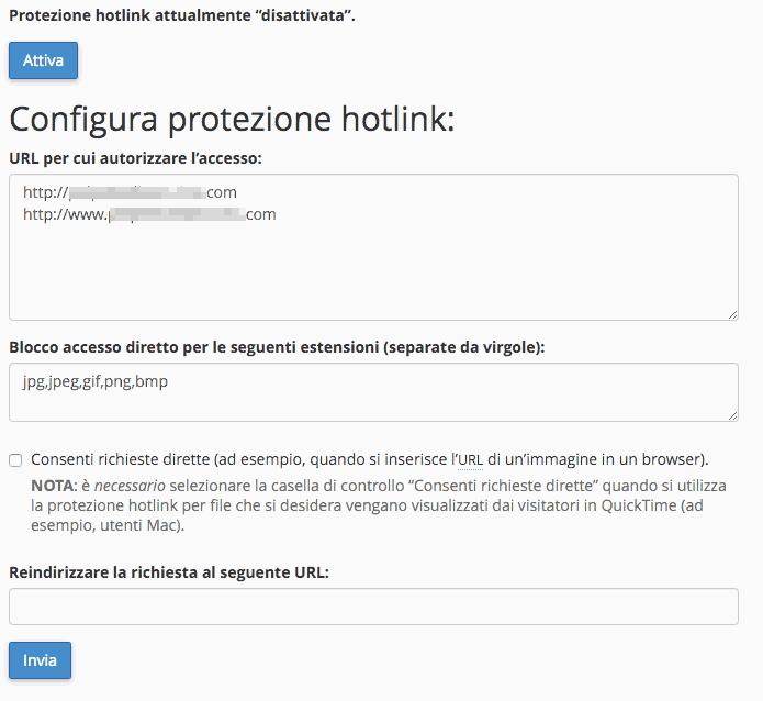 Come configuro la hotlink protection?