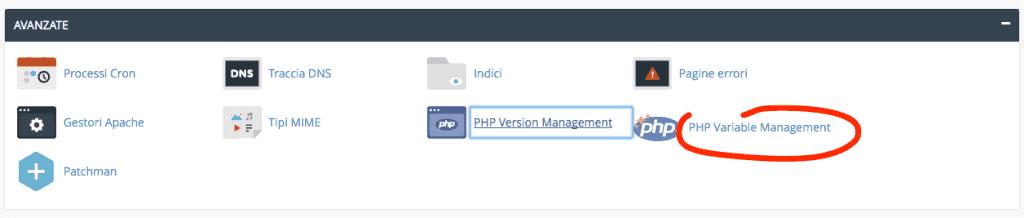 php.ini personalizzabile