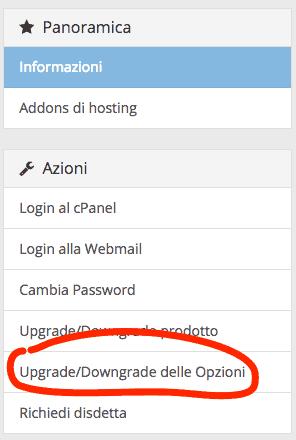 Upgrade/Downgrade delle opzioni del piano hosting