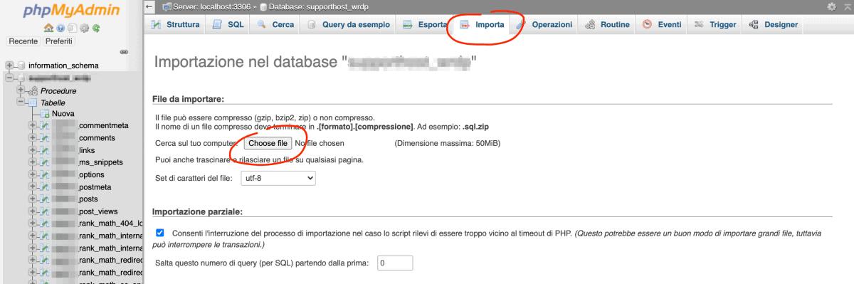 Trasferire Sito WordPress Importa Database