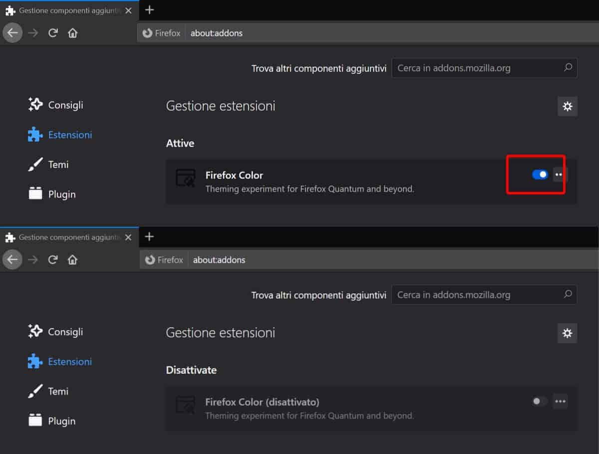 Disattivare Estensioni Firefox