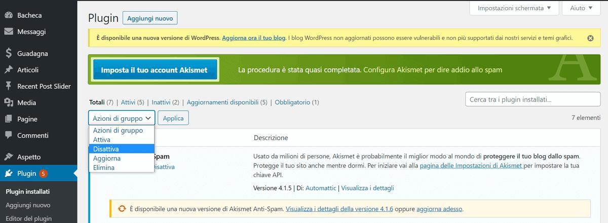Disattivare Plugin WordPress