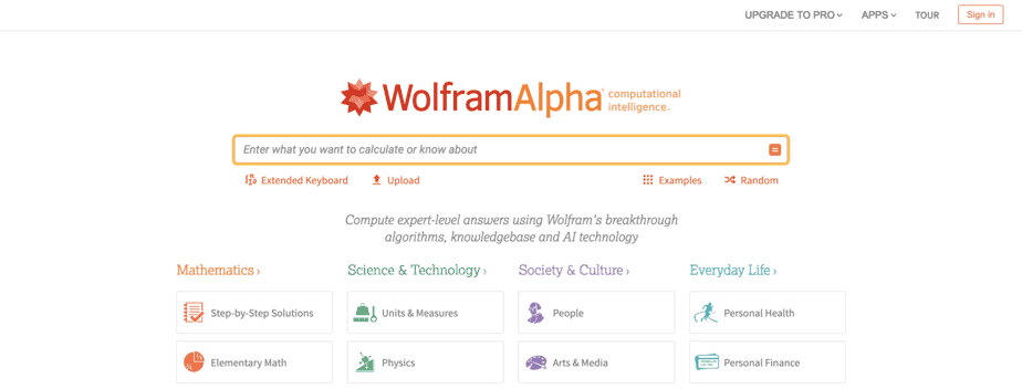 Motori Di Ricerca Alternativi Wolframalpha