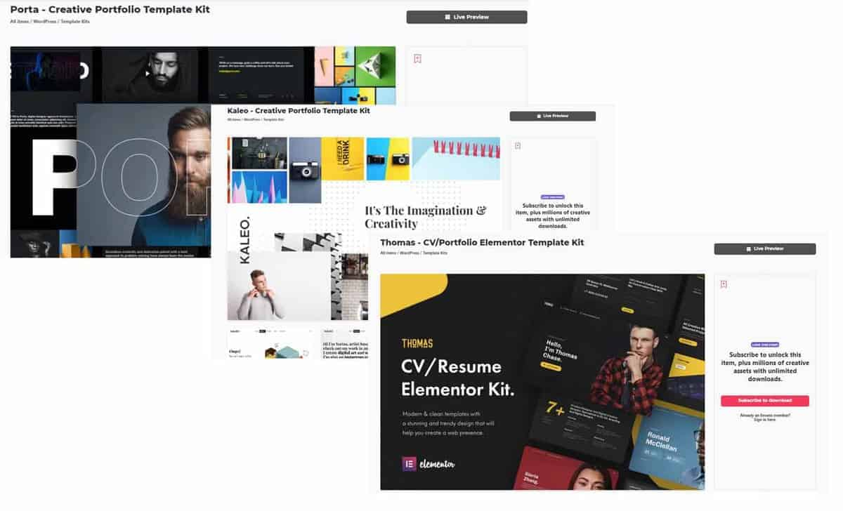 Template Elementor Envato Elements