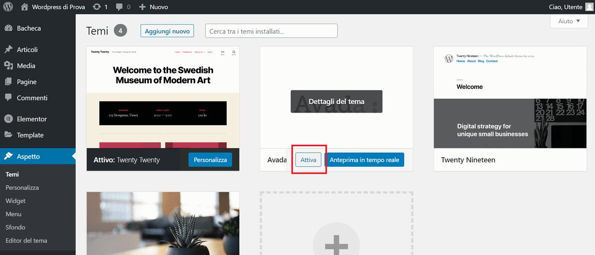 Attivare Tema Avada WordPress