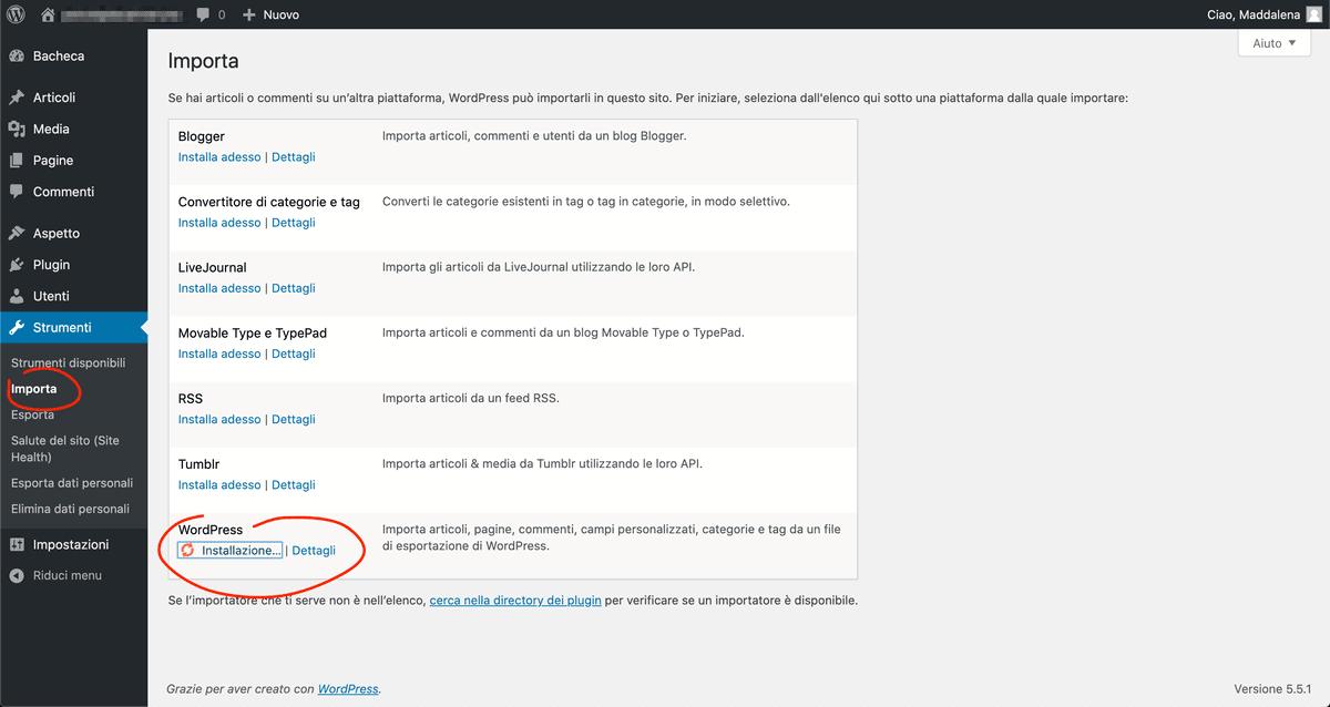 Installa Il Plugin Di Importazione WordPress