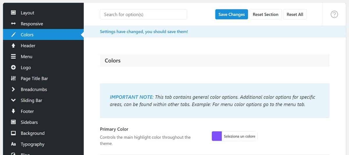 Opzioni Tema Avada Colori