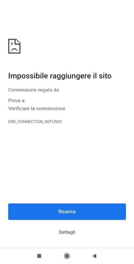 Err Connection Refused Android