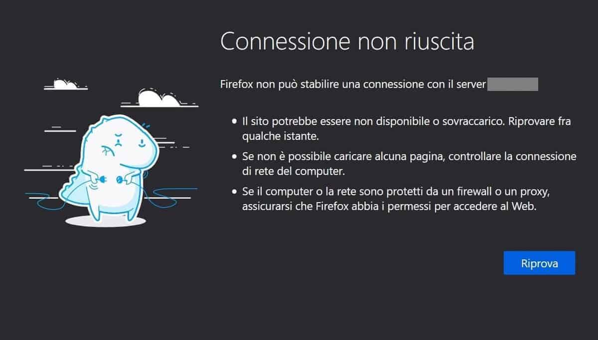Firefox Connessione Non Riuscita