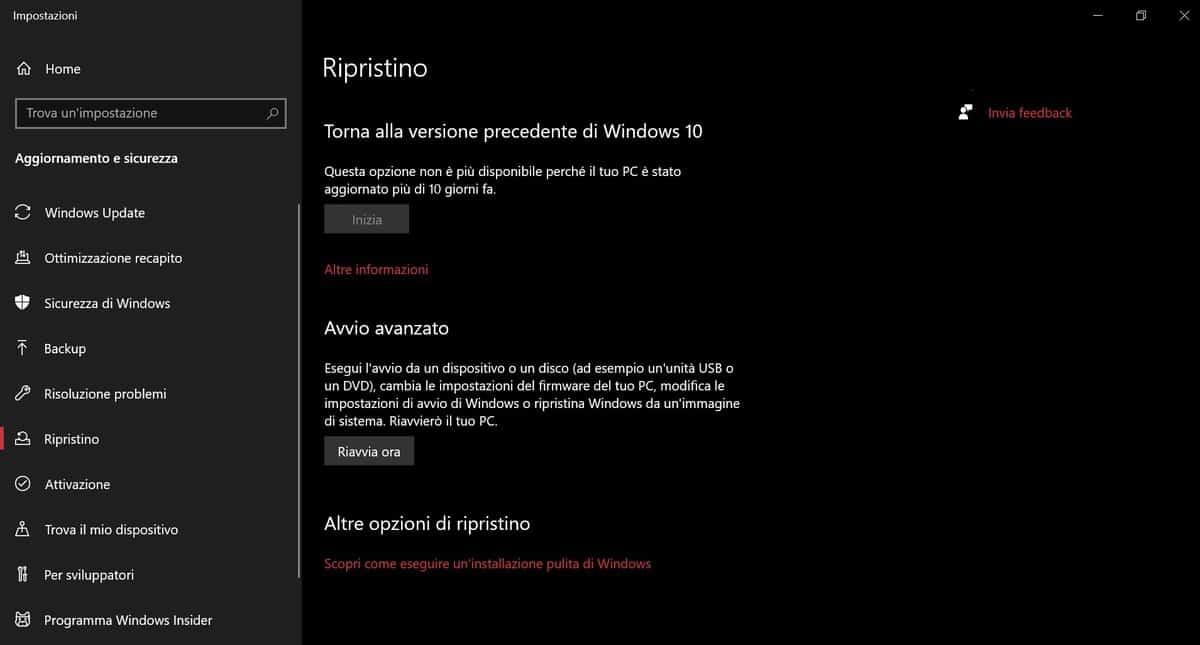 Modalita Provvisoria Windows 10