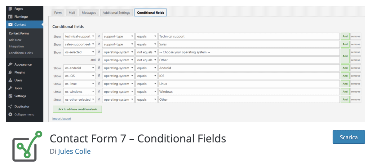 Contact Form 7 Conditional Fields