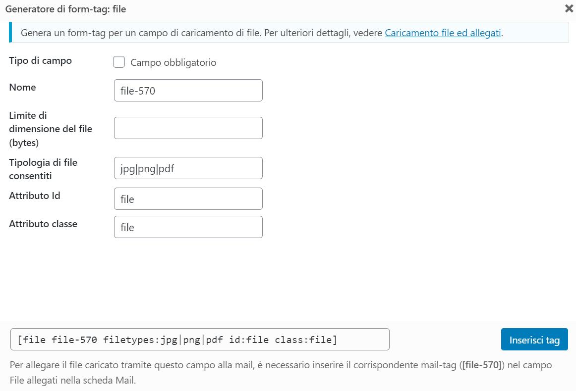 Contact Form File Allegati