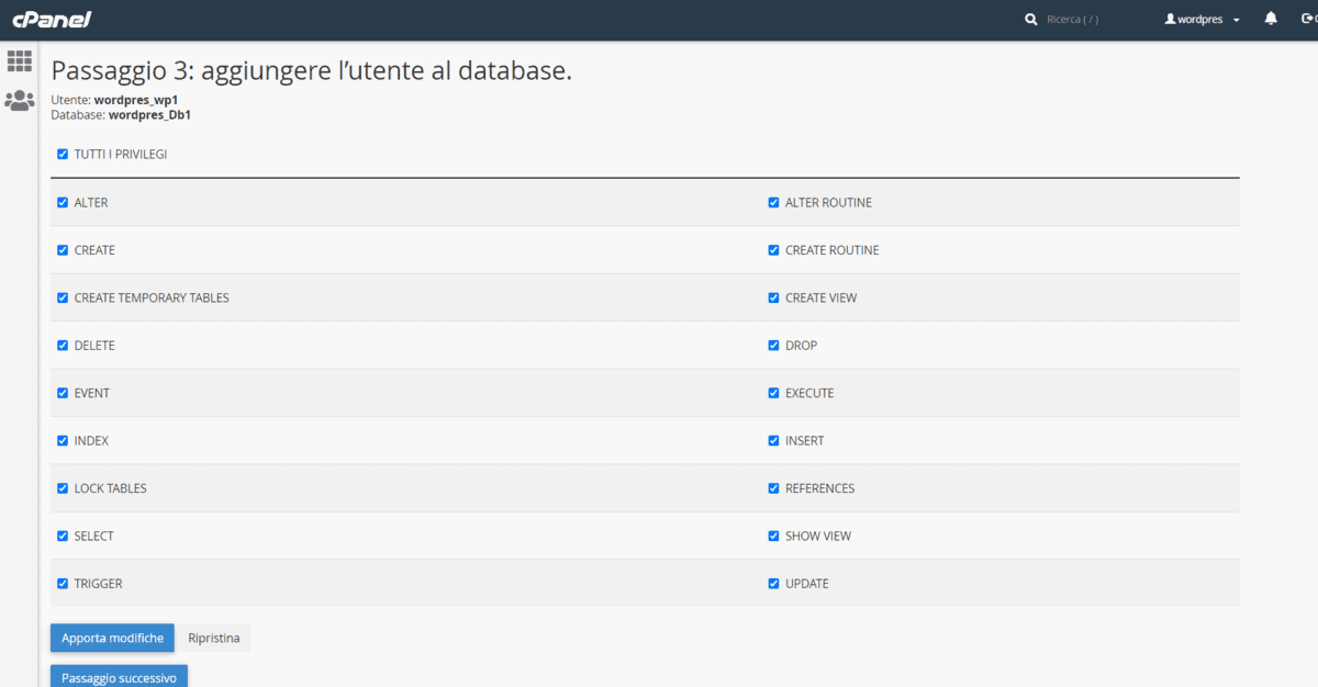 Creare Utente Database Mysql