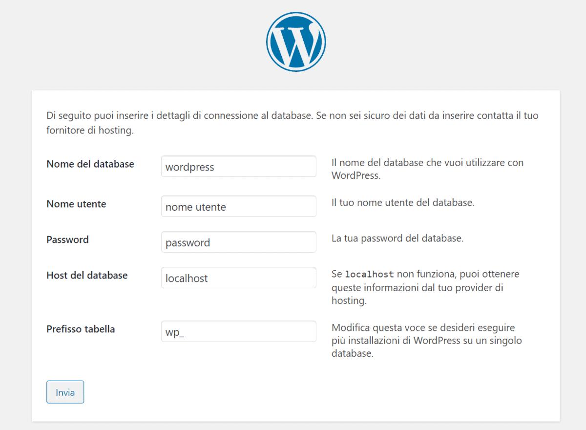 Dettagli Connessione Database WordPress