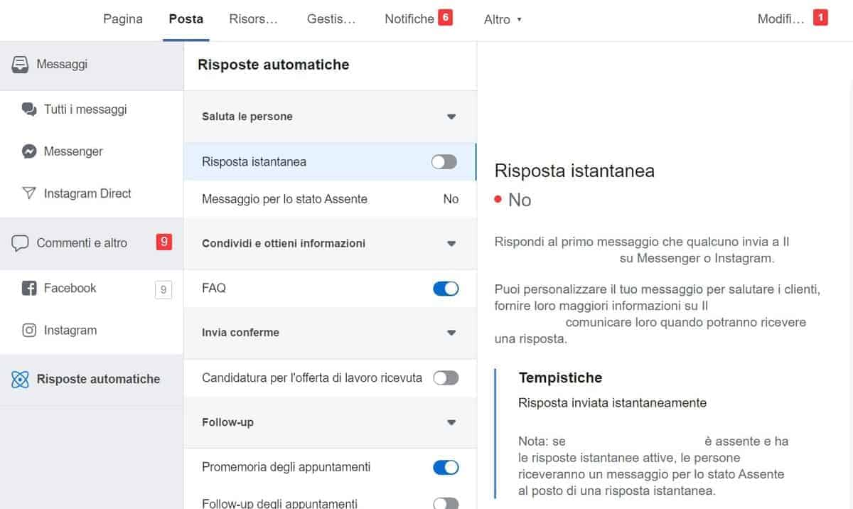 Facebook Risposte Automatiche