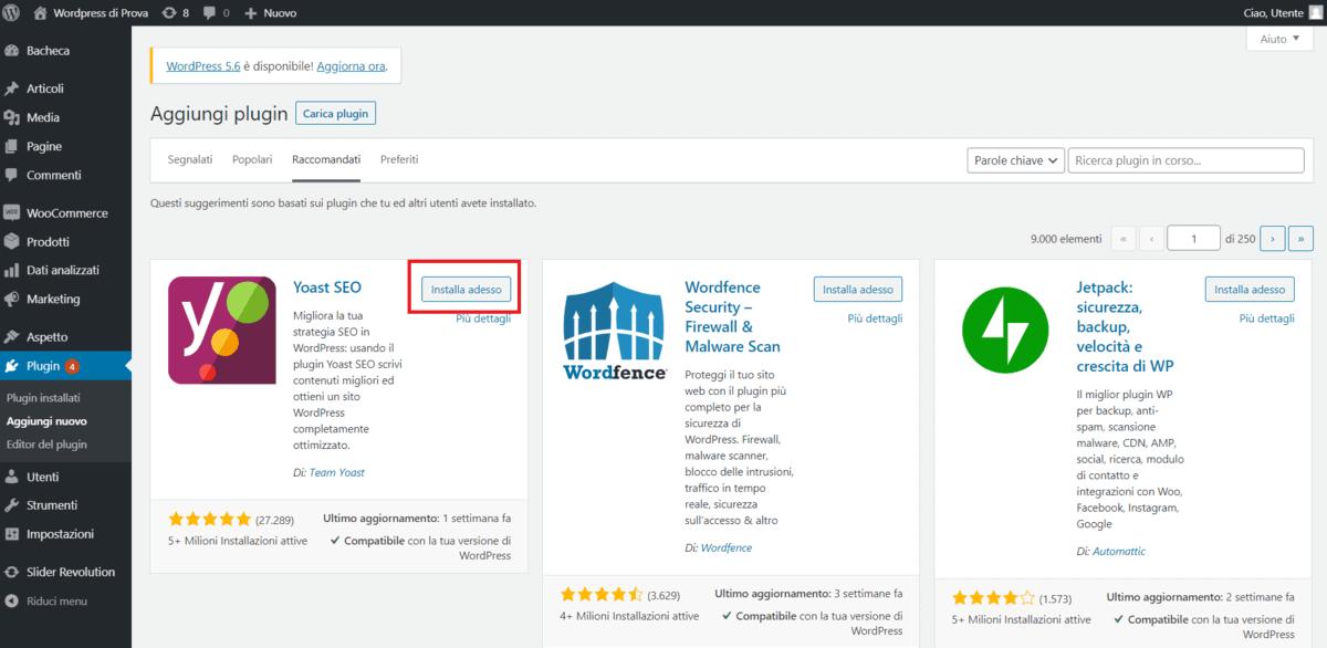 Installare Plugin WordPress
