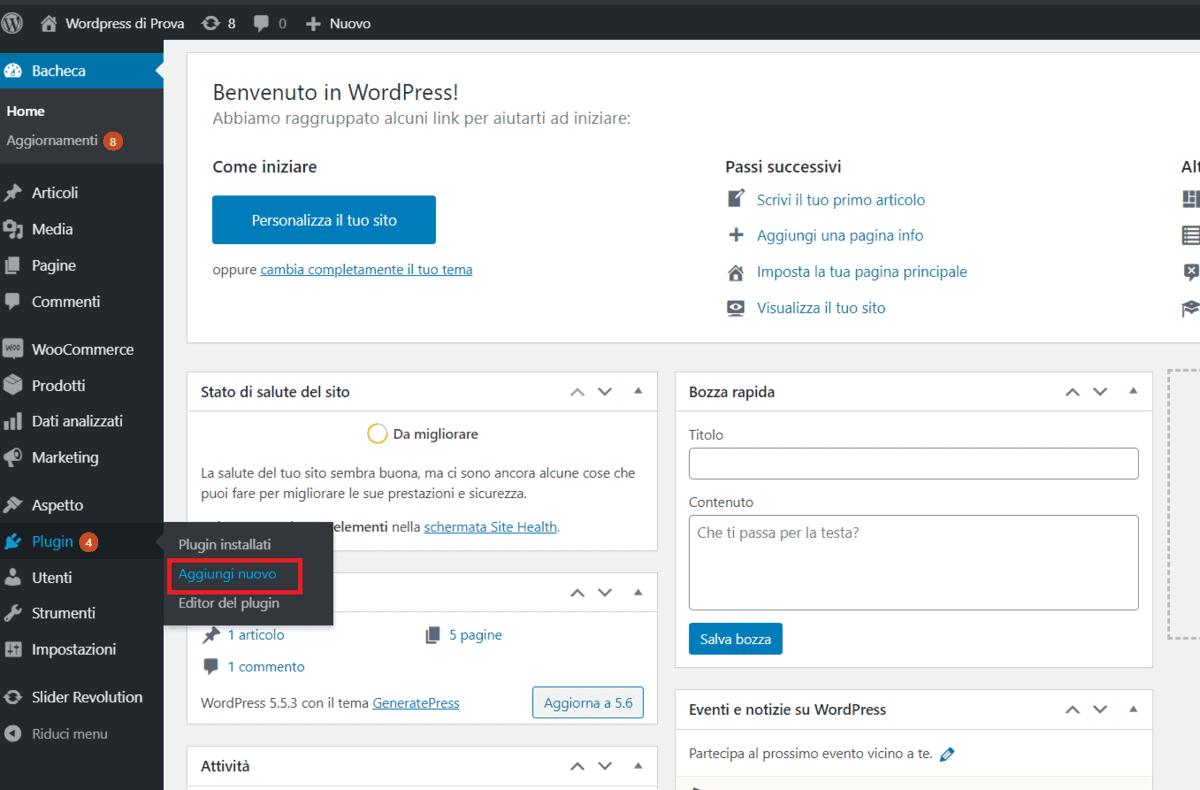 Plugin WordPress Aggiungi Nuovo