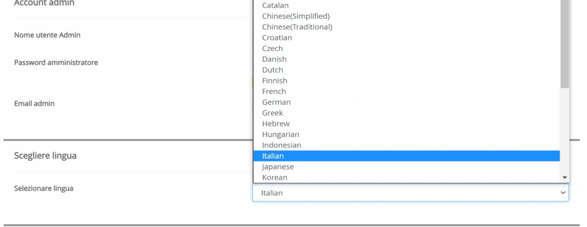 Scegliere Lingua WordPress