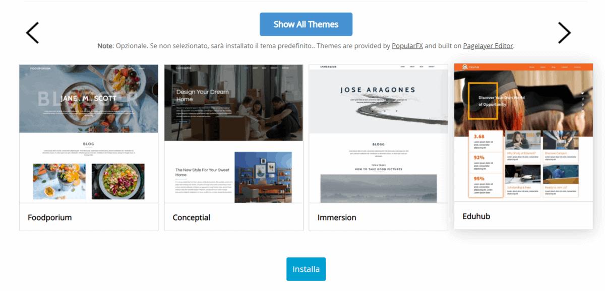 Scelta Tema WordPress Installazione Softacoulos