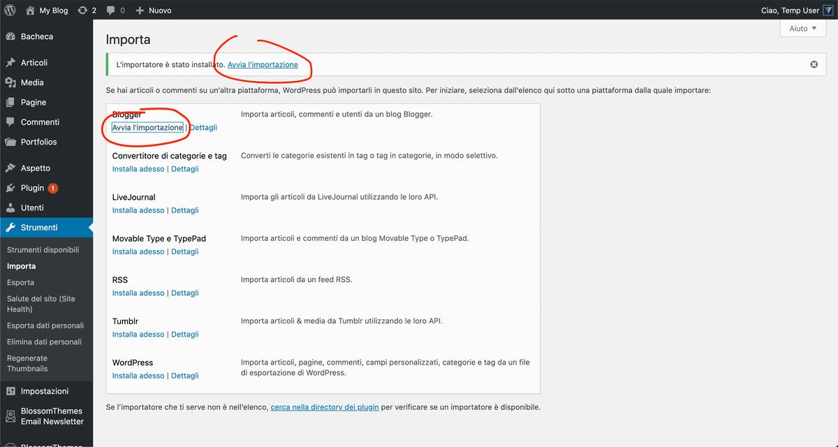 Avvia Importazione WordPress