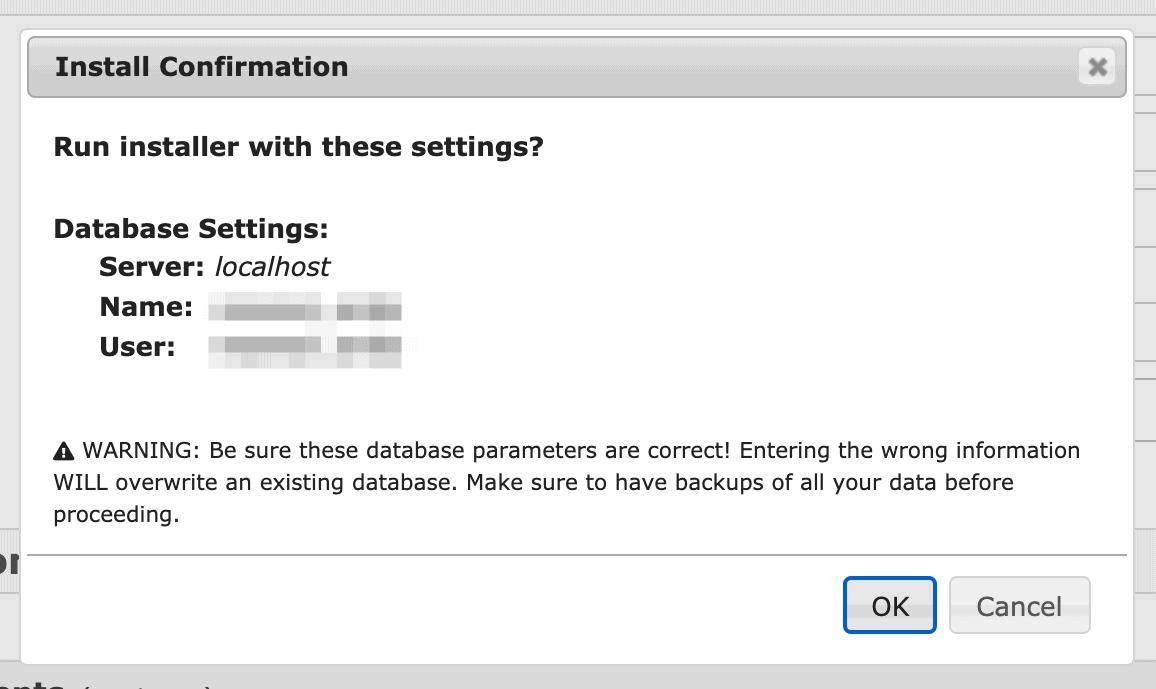 Conferma Importazione Database
