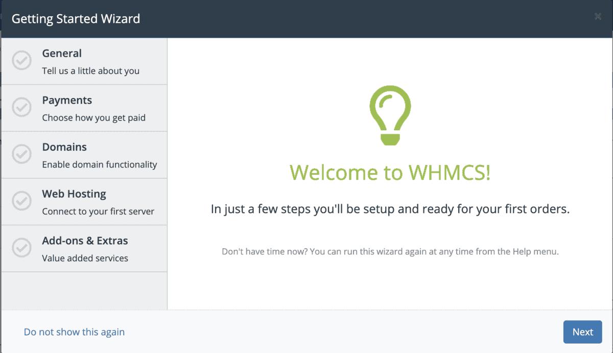 Configurazione Guidata Whmcs
