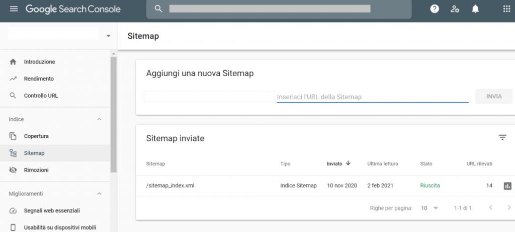 Inviare Sitemap Search Console