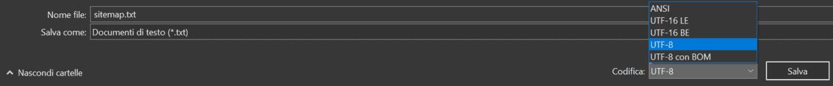 Sitemap Codifica Utf 8