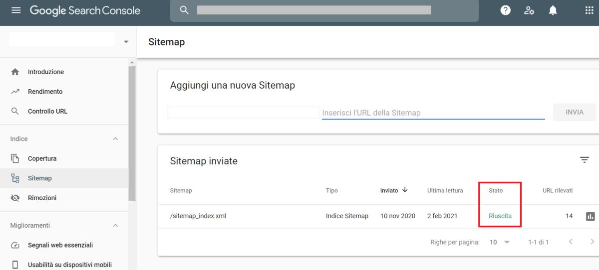 Verificare Invio Sitemap Search Console