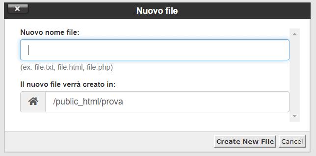 Creare Nuovo File