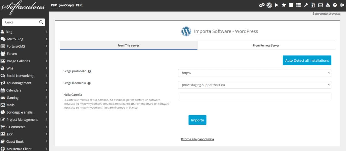 Importare WordPress Softaculous