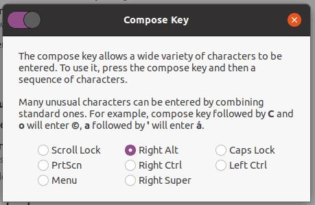 Linux Scegli Tasto Compose