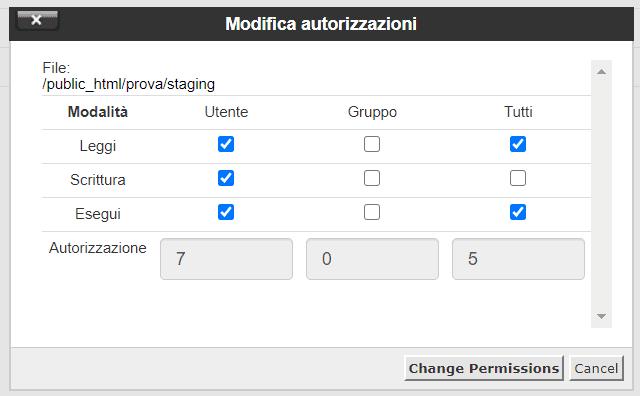 Modifica Autorizzazioni File