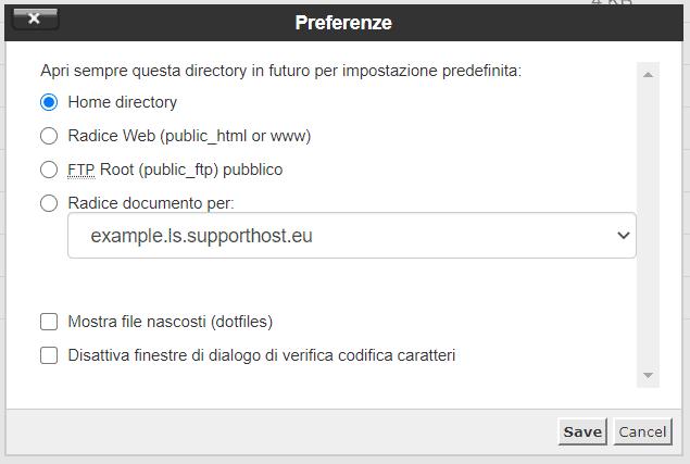 Preferenze File Manager