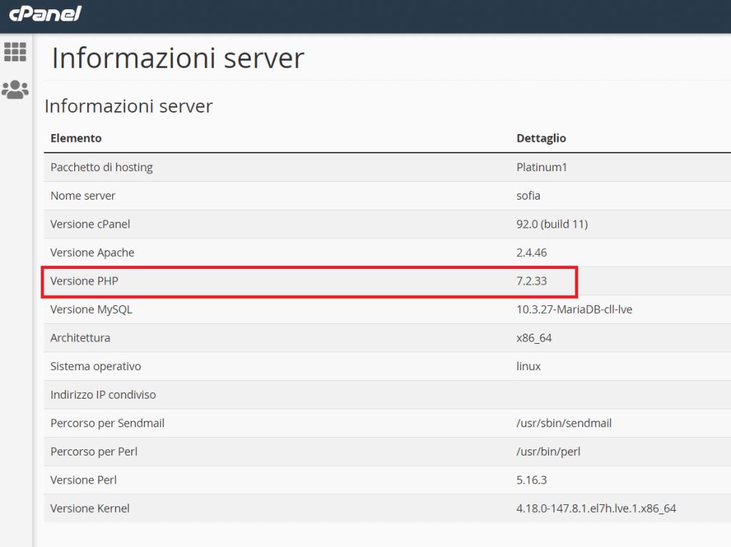 Versione Php Informazioni Server