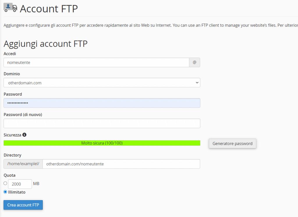 Aggiungi Account Ftp