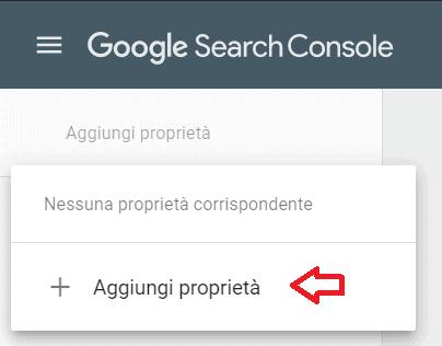 Aggiungi Proprieta Google Search Console