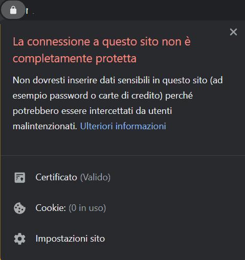 Connessione Non Completamente Protetta