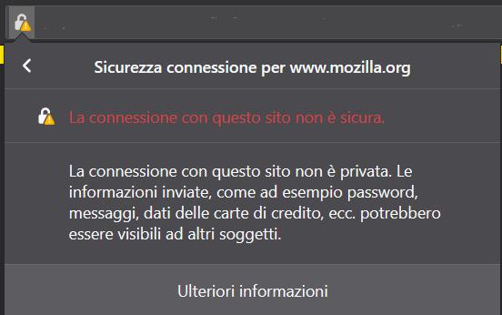 Connessione Non Sicura Firefox